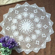 White Vintage Hand Crochet Lace Doily Round Table Topper Florla 27-29inch