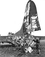 WWII Photo USAAF B-17 Bomber Shredded Tail England  WW2 B&W World War Two / 5094