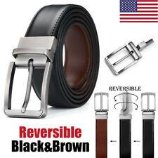 Men Reversible Genuine Leather Dress Belt Black & Coffee Rotate Buckle Waistband