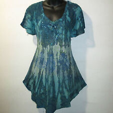 Top Fits 1X 2X 3X Plus Teal Blue Green Floral Tie Dye Lace Up A Shaped NWT G7875