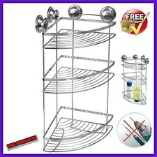 Corner Rack With Suction Cups 3 Tier Shelf Bathroom Shower Organizer NO Drills
