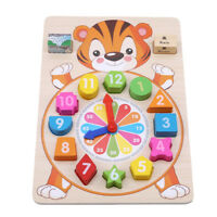 Kids Blocks Wooden Clock Puzzle Toys Animal Colorful Baby Educational Toy G