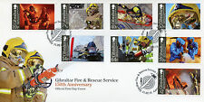 Gibraltar 2015 FDC Fire & Rescue Service 150th Anniversary 8v Set Cover Fireman