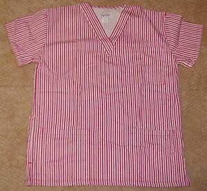 I Care V Neck Scrub Top W/ Top & bottom Pockets Red & Pink Pin Stripe Sz Small