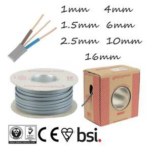 1mm 1.5mm 2.5mm 4mm 6mm 10mm 16mm Twin and Earth Cable T&E Grey Lighting Socket