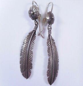 Long Sterling Silver Feather Concho Style Dangle Earrings Pierced Navajo ?