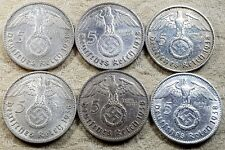 UNIQUE 6 x Full Mint Set 5 ReichsMark 1938 Nazi Silver Coin