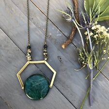 Laurel Necklace Green Round Jasper Gold Hexagon Pyrite Chips Antique Gold Chain