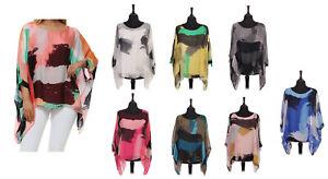 Women Ladies Italian Lagenlook Abstract Paint Artistic Batwing Silk top One size