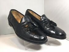Martin Dingman Perry Black Tassel Leather Slip-on Loafers Size 9.5 M