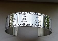 Unisex Ten Commandments Polished Stainless Steel Design Open Bangle 7.5 Inches
