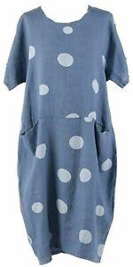 Ladies Italian Polka Dot Two Pocket Women Lagenlook Linen Tunic Dress Plus Sizes