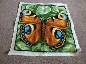 Collectible Needlepoint Sampler Complete Butterfly Worked Are 15.5 x 15.5