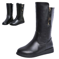 Fashion Women Ladies Mid-calf Winter Snow Boots Stretch Zipper Casual Flat Shoes