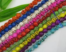 Al por mayor 20 PIEZAS Multicolor Turquesa Tallado Calavera Cuentas 12X10MM