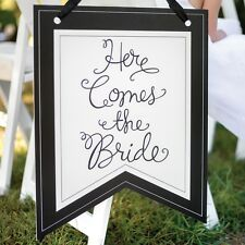 Black and White Here Comes The Bride Pennant Wedding Ceremony Sign