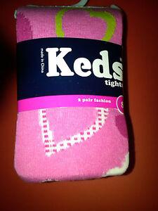 NWT 2 PR GIRLS KEDS HEAVYWEIGHT COTTON FASHION TIGHTS PINK HEARTS & WHITE 4-6