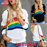 Womens Rainbow Striped Sweatshirt Top Ladies Casual Crew Neck Long Sleeve Blouse