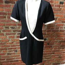 Vintage Jacqueline de Ribes Dress Black Ivory Day Dress Short Sleeve 38 6