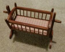 1960's Vintage Dollhouse Furniture, Wooden Cradle, Scale Model, 1:12