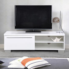 High Gloss White TV Stand Unit Cabinet via Shelves 1 Drawer Console Furniture