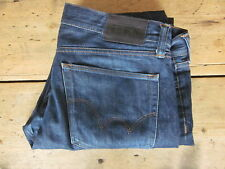 "EDWIN JEANS ""ED-75"" (36/37x31) SLIM STRAIGHT BUTTON FLY JAPANESE DENIM DARK-BLUE"