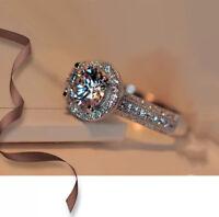 Women Fashion 925 Silver Round Wedding White Sapphire Band Ring Jewelry Sz 5-9