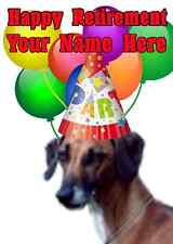 Sloughi Dog Happy Retirement Party Hat Card codeslo Personalised Greetings