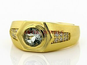 Natural Aquamarine Gemstone with Gold Plated 925 Sterling Silver Men's Ring 2950