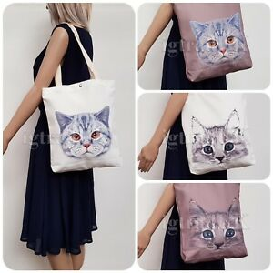 NEW CANVAS STYLE CAT FACE PRINT SHOPPER TOTE BAG SKU IG3317