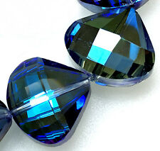 18x20mm Faceted Blue Crystal Quartz Oval Loose Beads 10PCS