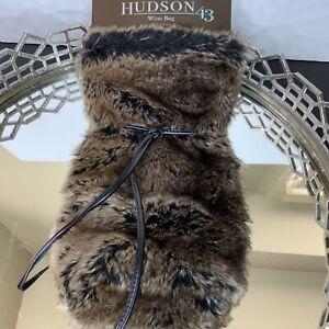 Hudson 43 Wine Bag Barware Brown Black Faux Fur Gift Faux Leather Tie #J6