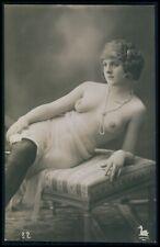 French nude woman reclining serene girl original c1910-1920s RPPC photo postcard