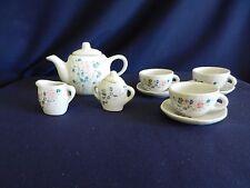 Pretty Port Ltd Blue Petunia Miniature Doll House Fine China Tea Set Lot! Nice!