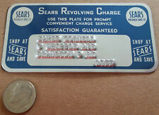 Vintage SEARS Revolving Charge METAL Credit Card RI Rhode Island, Unsigned Back!