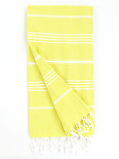 Large Cali Light Yellow Hammam Towel 100% Turkish Cotton Beach, Bath, Spa, Yoga,