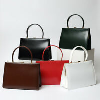 Real Leather Trapezoid Handbag Clutch Purse Baguette Handle Briefcase Grab Bag