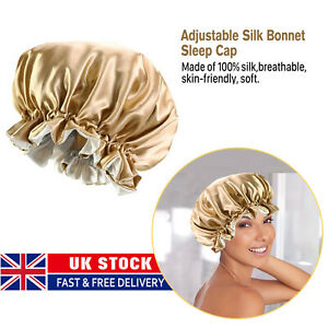 Silk Bonnet Satin Night Sleep Cap Adjustable Elastic Long Hair Head Cover Cap UK