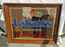 Vintage Labatt's Beer Mirror Sign Canada Man Cave Rare Imported Wall Wood Framed
