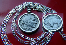 "Handsome American Buffalo Nickel year 1936 on a 30"" 925 Sterling Silver Chain"