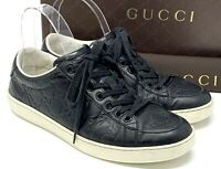 Auth GUCCI GG Logo Leather Shoes Sneakers Men's #5.5 US 6.5 Black Rubber Sole