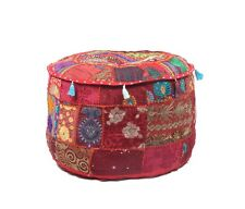 "22"" Round Ottoman Pouf Patchwork Decorative Footstool Poofs Cover"