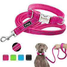 Soft Padded Personalized Dog Collar and Leash Set Nylon Reflective ID Collar S-L