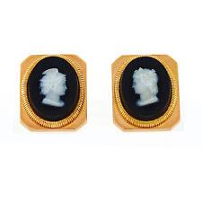 Vintage 18K Rose Gold Square Black Onyx White Warrior Cameo Design Cufflinks