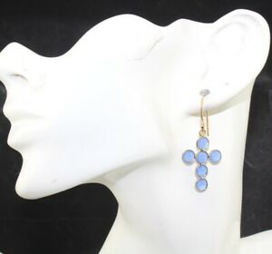 Colorful Chalcedony Hydro Quartz Yellow Gold Plated Cross Hook Girls Earrings