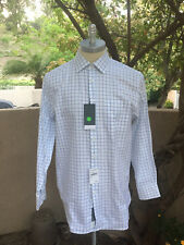 JOHN W.NORDSTROM CANCLINI Dress Shirt, White & Blue Windowpane Design 16.5 X 36