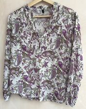 """Ladies White With Purple Pattern Shirt Chest 37""""<NH4052"""