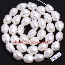 "9-10mm White Freshwater Pearl Freeform Shape Gemstone Loose Beads Strand 15"""