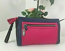 Coach Legacy Color Block Leather Large Clutch Wristlet Makeup Pink Blue B21