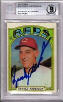 "SPARKY ANDERSON Signed 1972 Topps Card ""CINCINNATI REDS"" BECKETT SLABBED BAS"